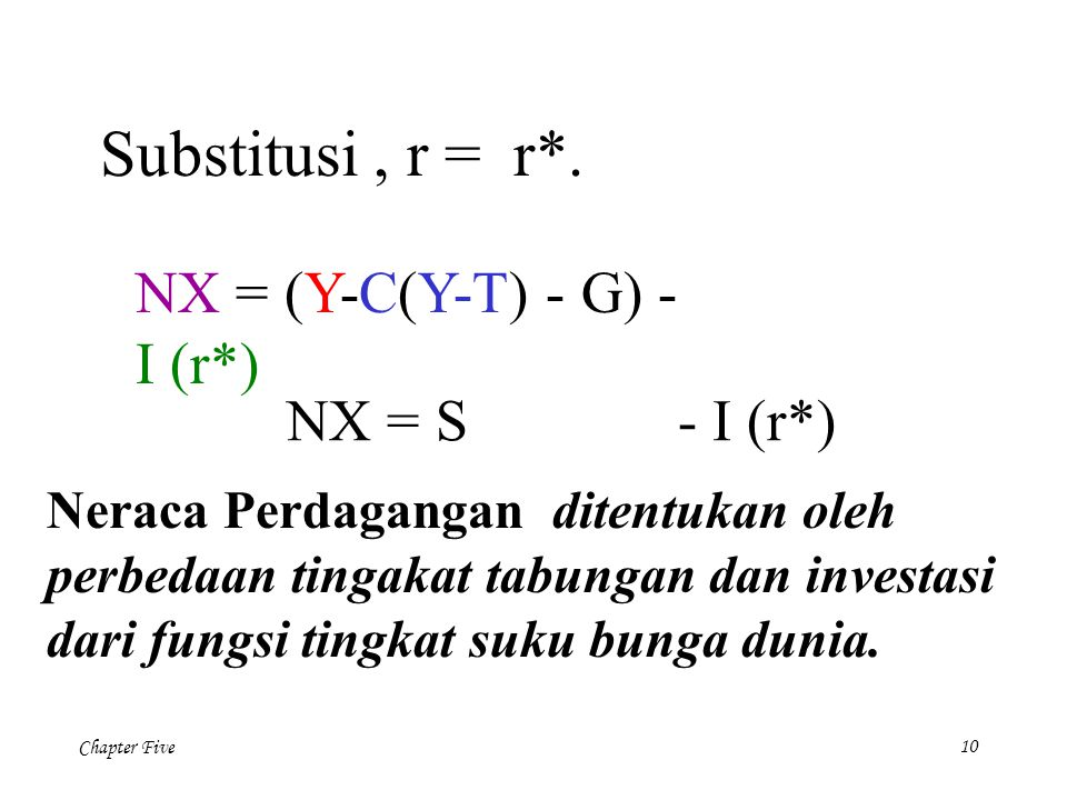 Substitusi , r = r*. NX = (Y-C(Y-T) - G) - I (r*) NX = S - I (r*)