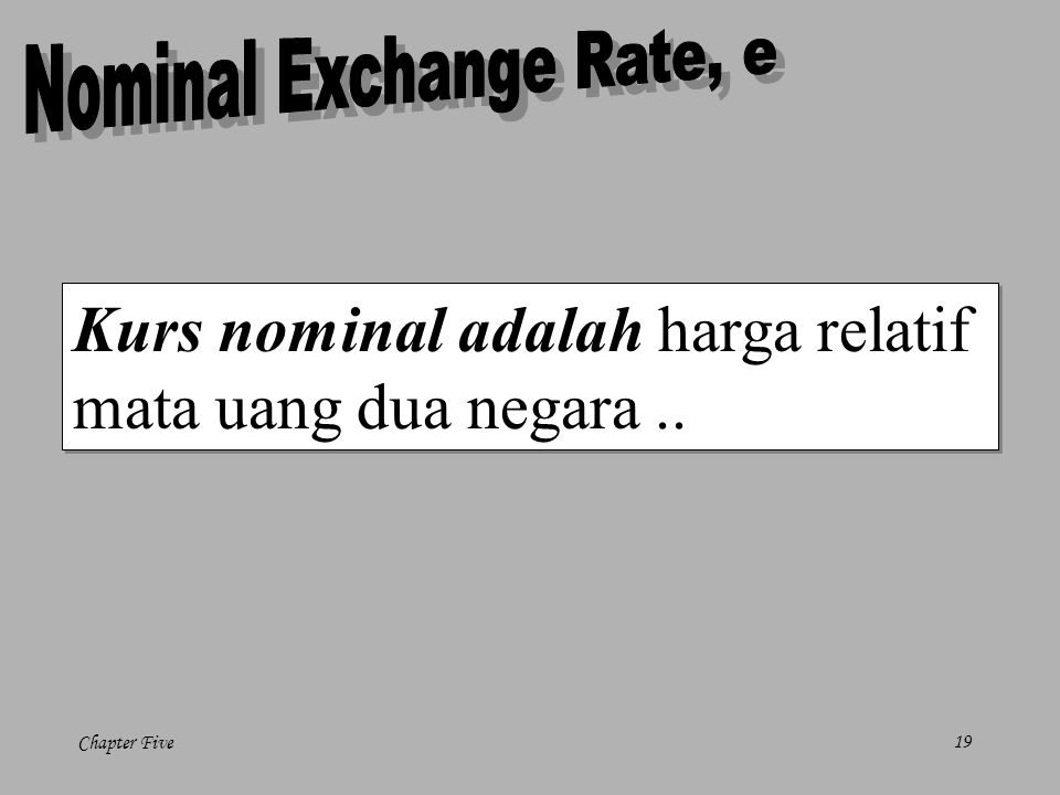 Nominal Exchange Rate, e