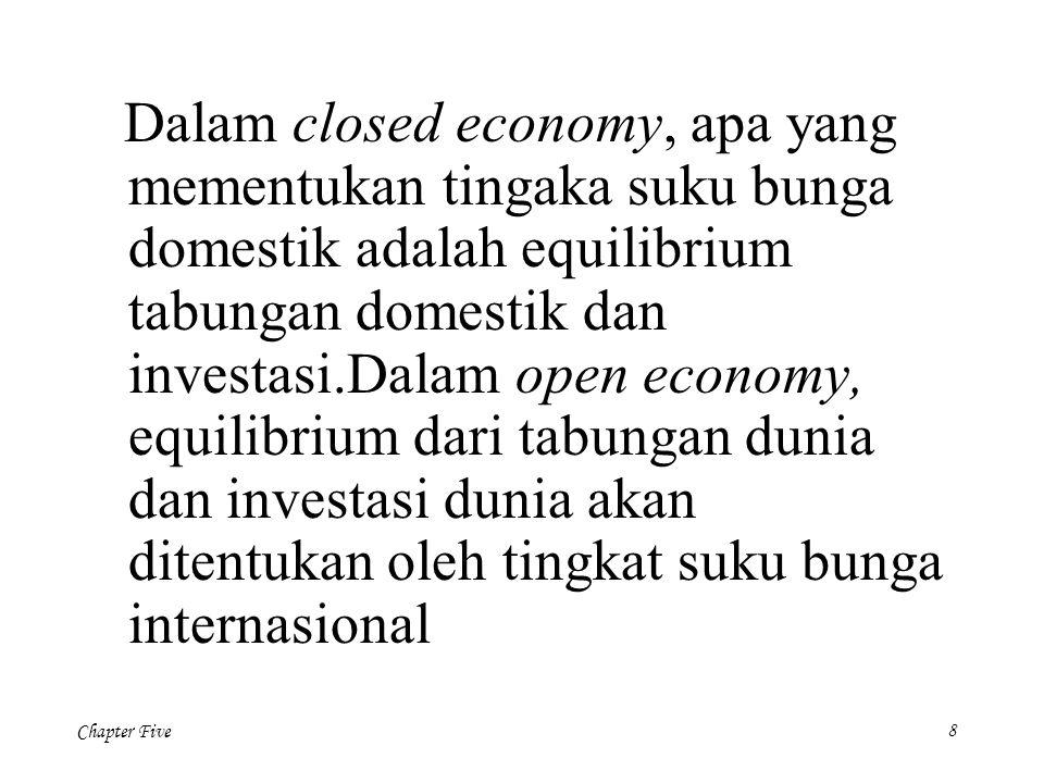 Dalam closed economy, apa yang mementukan tingaka suku bunga domestik adalah equilibrium tabungan domestik dan investasi.Dalam open economy, equilibrium dari tabungan dunia dan investasi dunia akan ditentukan oleh tingkat suku bunga internasional