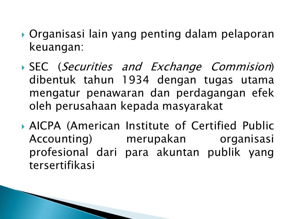 Organisasi lain yang penting dalam pelaporan keuangan: