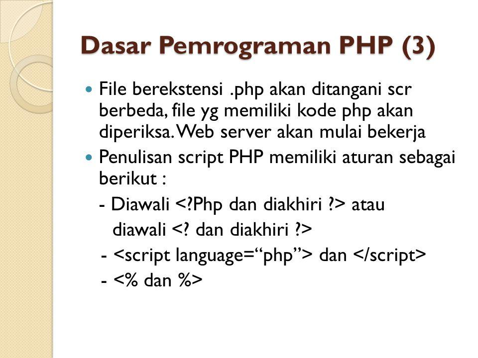 Dasar Pemrograman PHP (3)