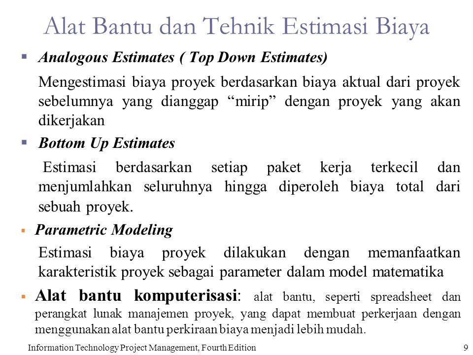 Alat Bantu dan Tehnik Estimasi Biaya