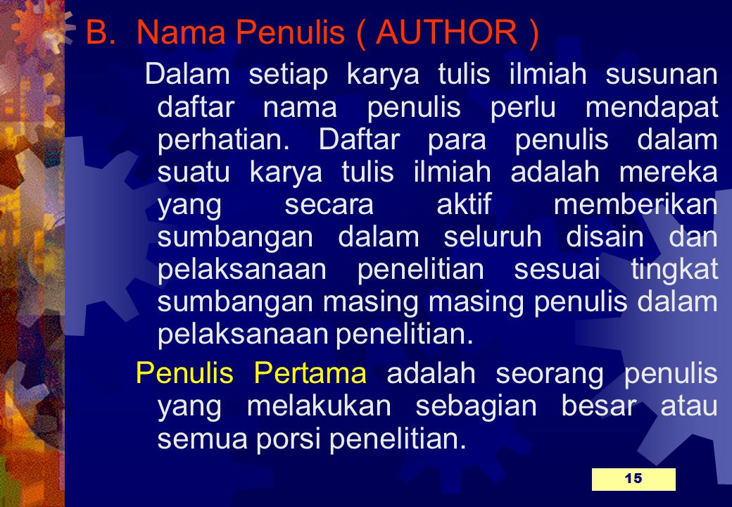 B. Nama Penulis ( AUTHOR )