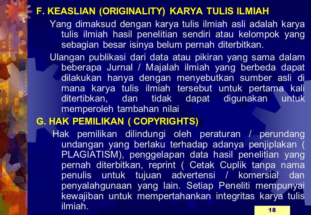 F. KEASLIAN (ORIGINALITY) KARYA TULIS ILMIAH