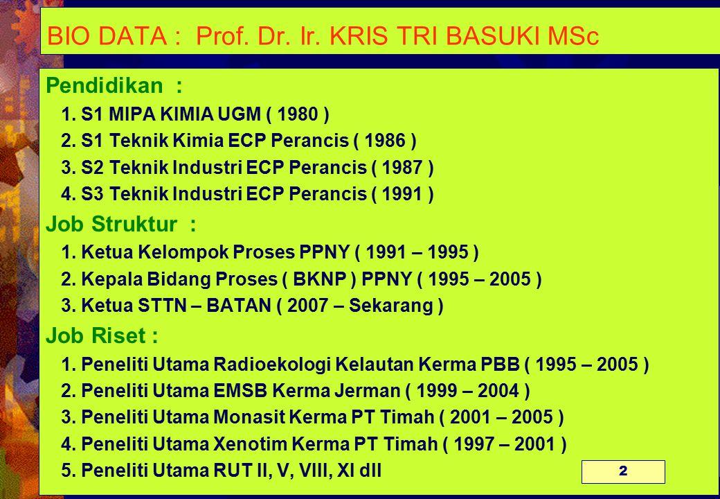 BIO DATA : Prof. Dr. Ir. KRIS TRI BASUKI MSc