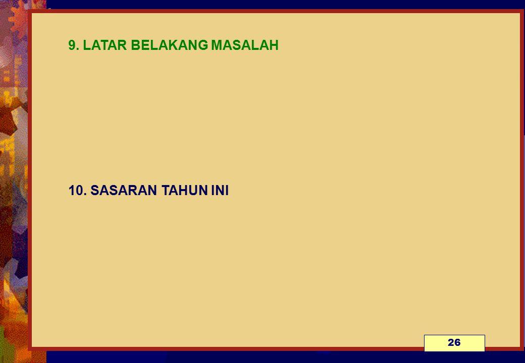 9. LATAR BELAKANG MASALAH 10. SASARAN TAHUN INI