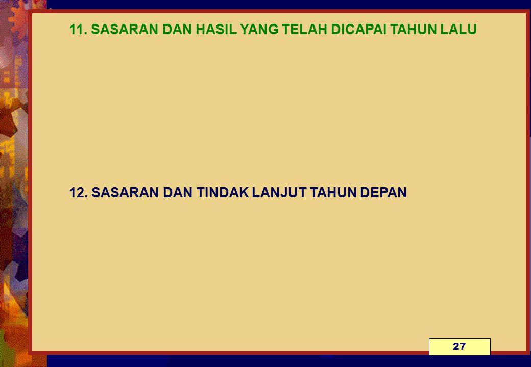 11. SASARAN DAN HASIL YANG TELAH DICAPAI TAHUN LALU. 12