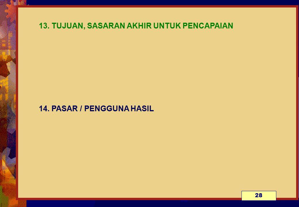 13. TUJUAN, SASARAN AKHIR UNTUK PENCAPAIAN 14. PASAR / PENGGUNA HASIL