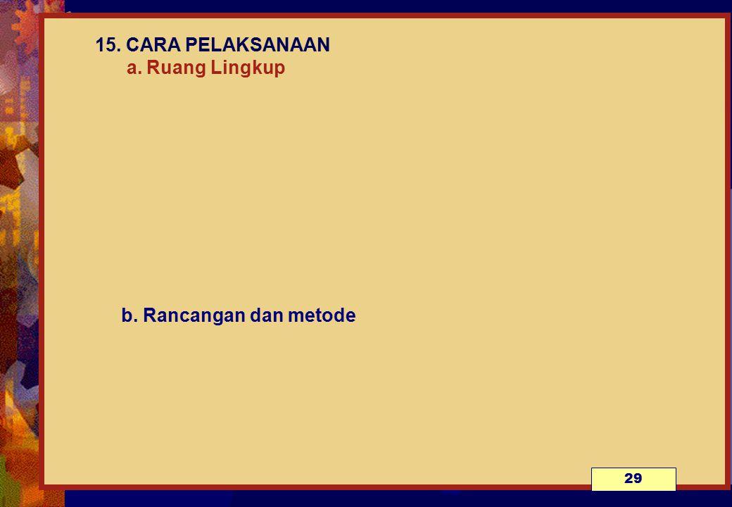 15. CARA PELAKSANAAN a. Ruang Lingkup b. Rancangan dan metode