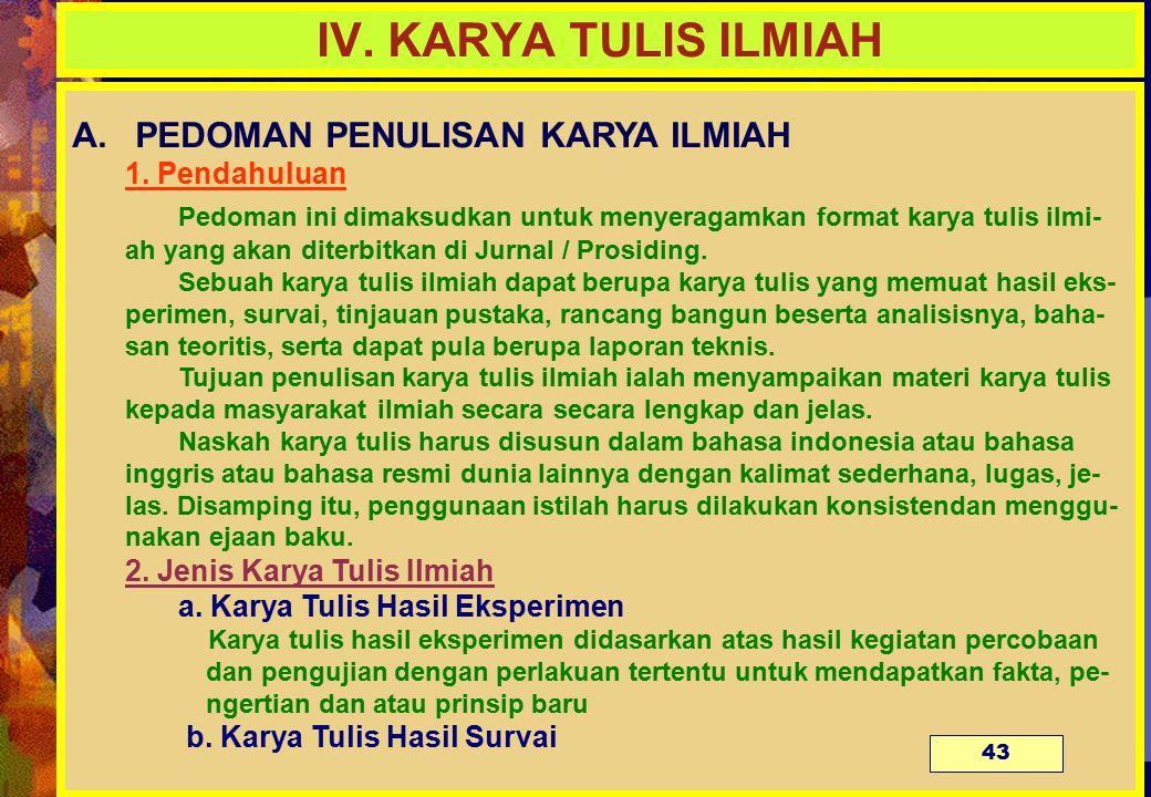 IV. KARYA TULIS ILMIAH