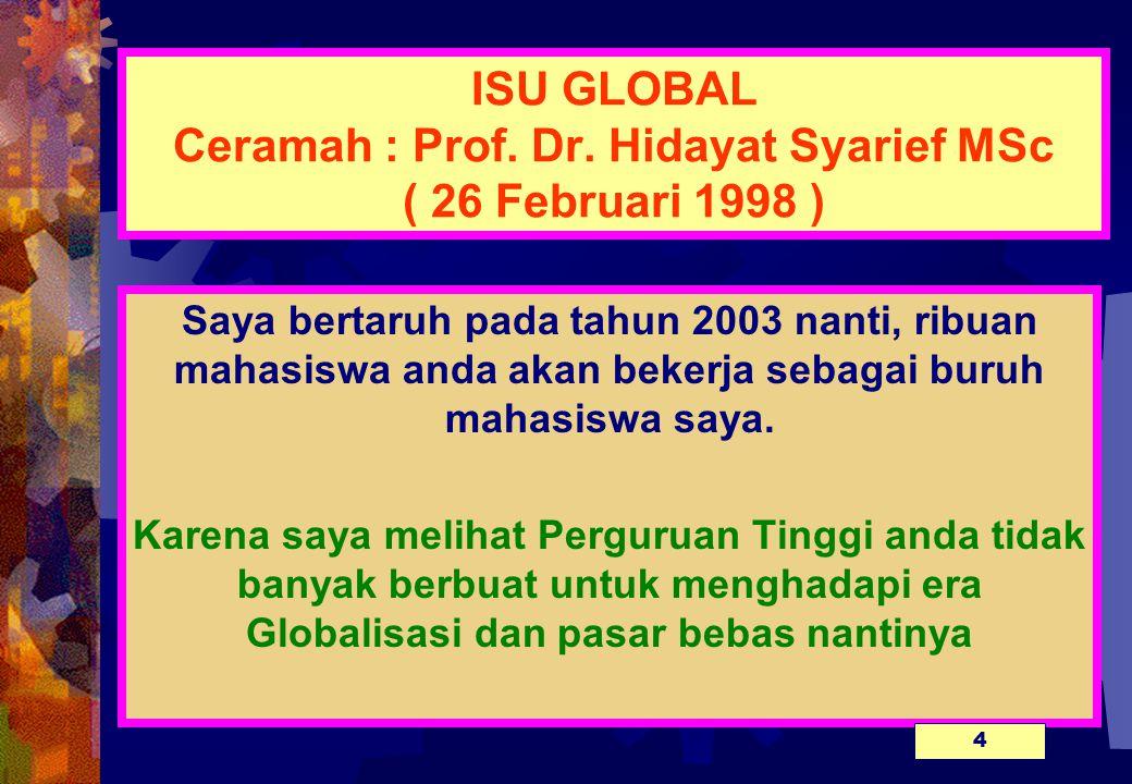 ISU GLOBAL Ceramah : Prof. Dr. Hidayat Syarief MSc ( 26 Februari 1998 )