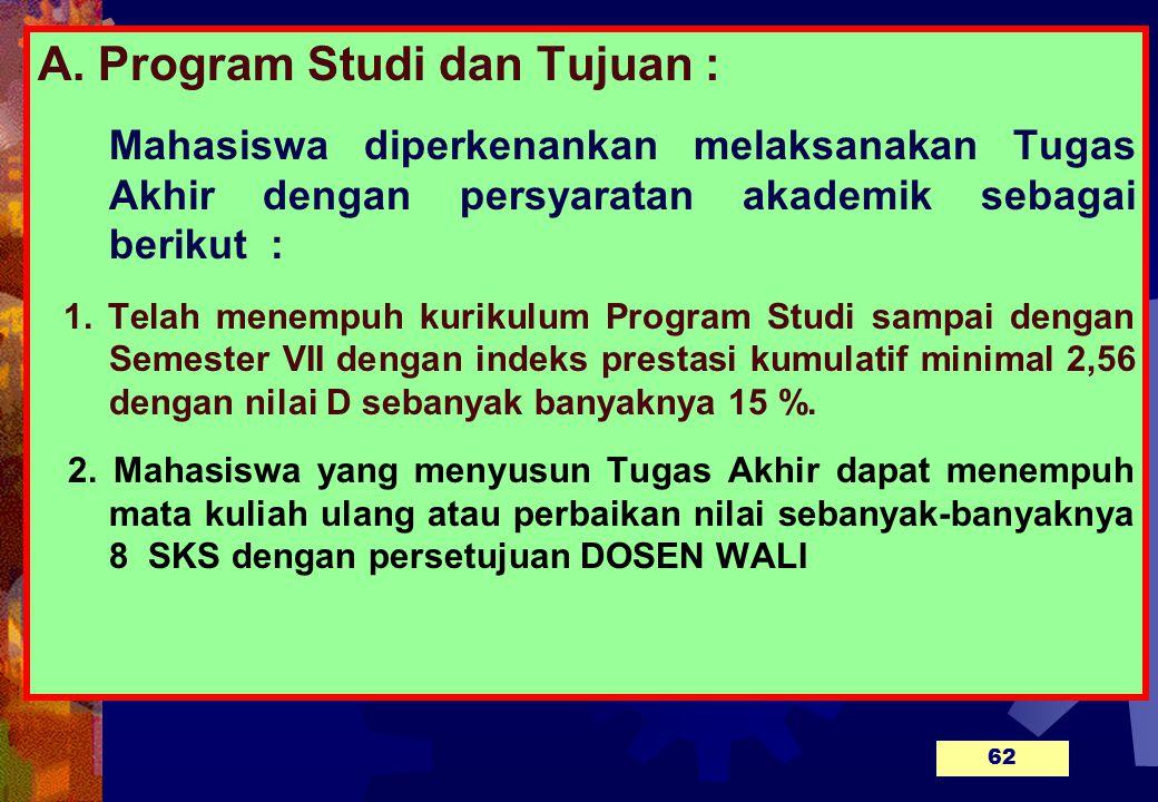 A. Program Studi dan Tujuan :