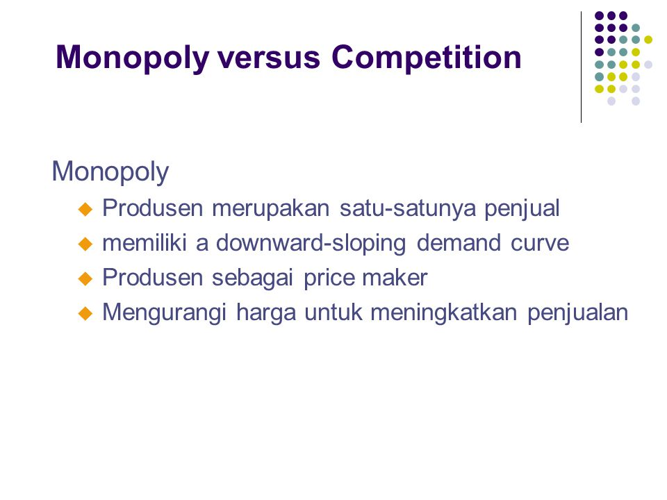Monopoly versus Competition