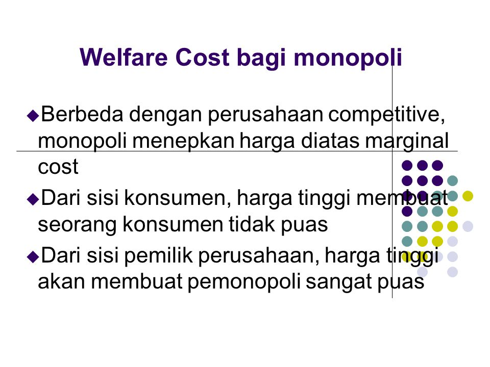 Welfare Cost bagi monopoli