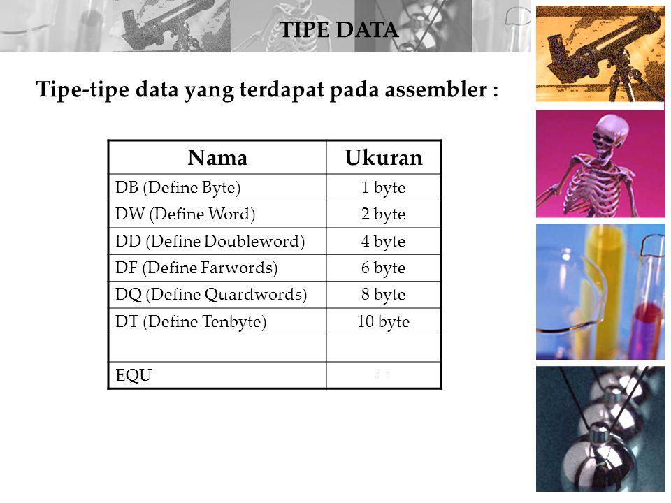 Tipe-tipe data yang terdapat pada assembler : Nama Ukuran
