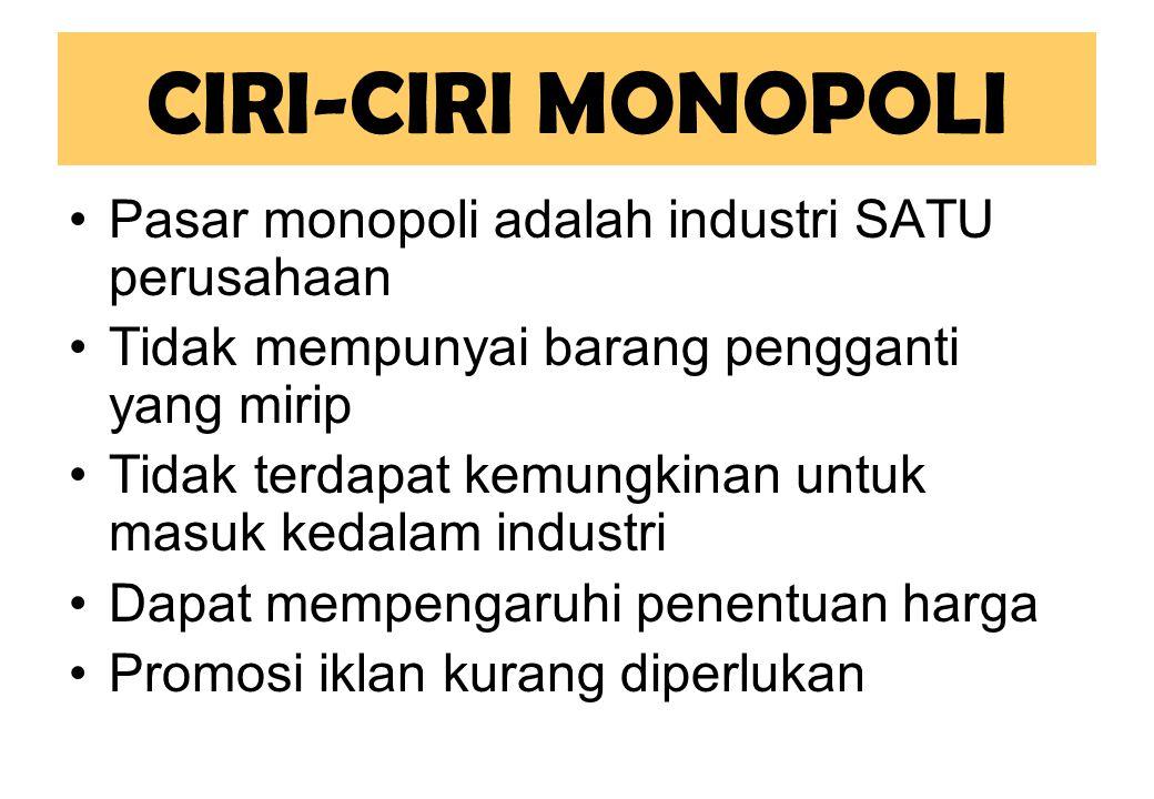CIRI-CIRI MONOPOLI Pasar monopoli adalah industri SATU perusahaan