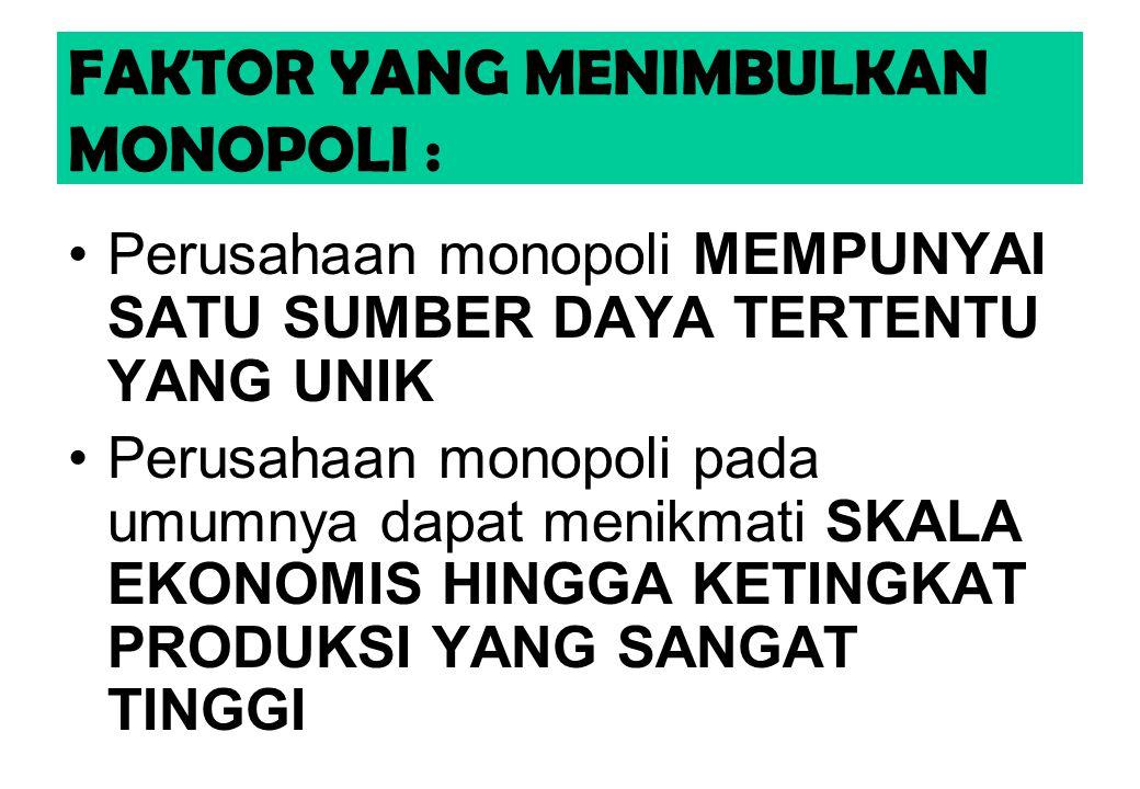 FAKTOR YANG MENIMBULKAN MONOPOLI :