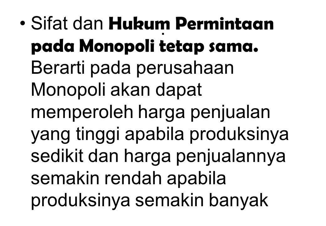 Sifat dan Hukum Permintaan pada Monopoli tetap sama