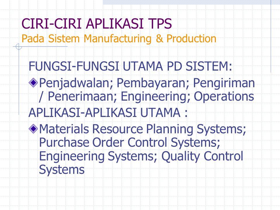CIRI-CIRI APLIKASI TPS Pada Sistem Manufacturing & Production