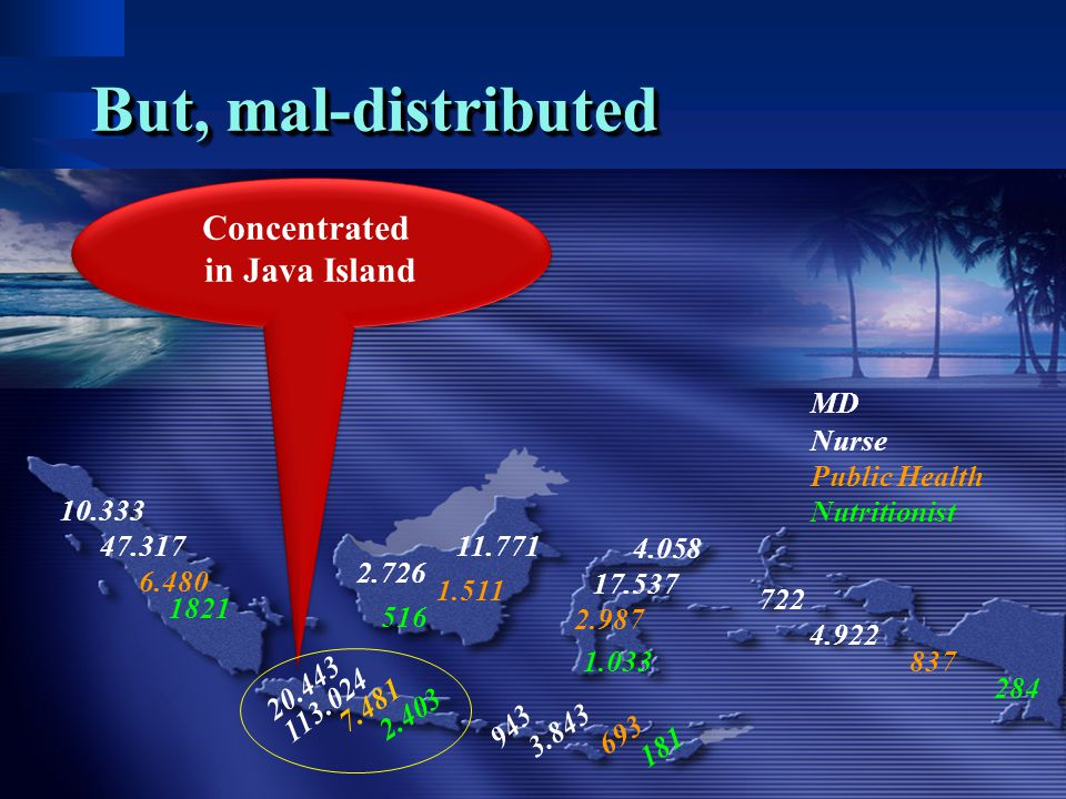 But, mal-distributed Concentrated in Java Island MD Nurse
