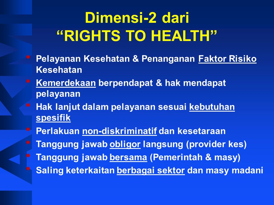Dimensi-2 dari RIGHTS TO HEALTH