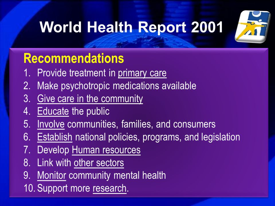 World Health Report 2001 Recommendations
