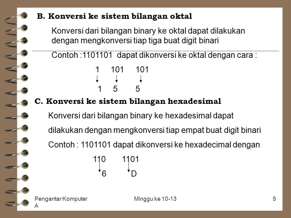 B. Konversi ke sistem bilangan oktal
