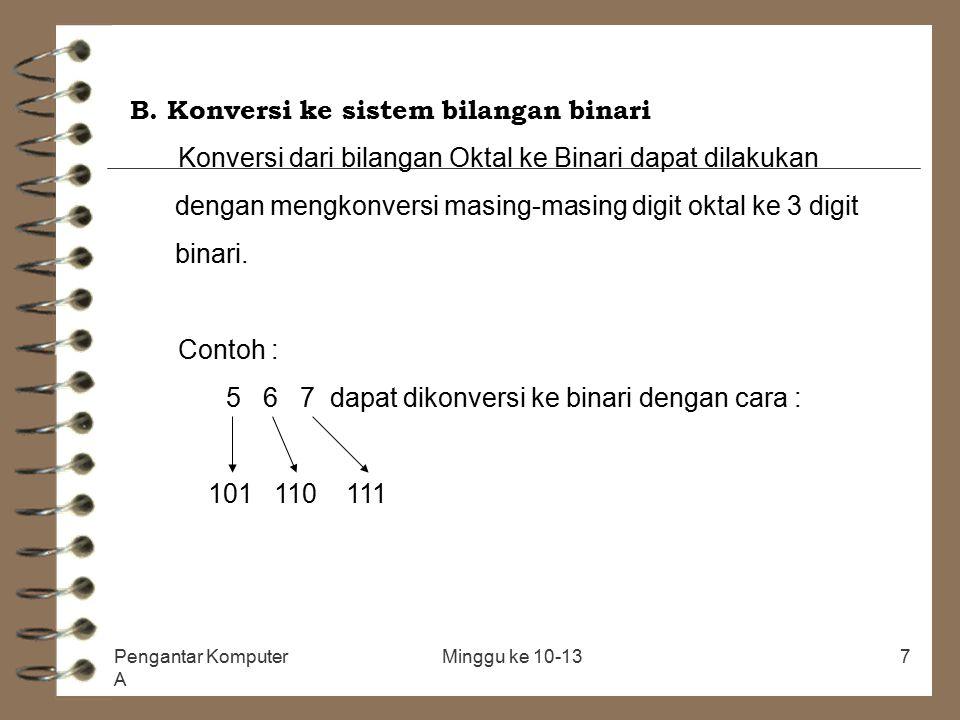B. Konversi ke sistem bilangan binari