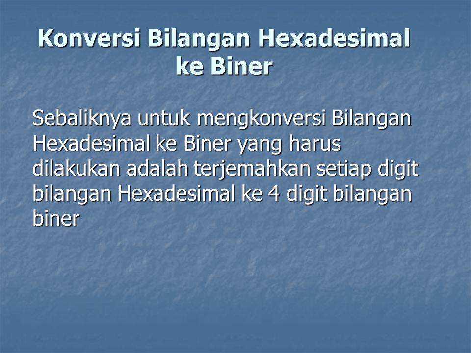 Konversi Bilangan Hexadesimal ke Biner