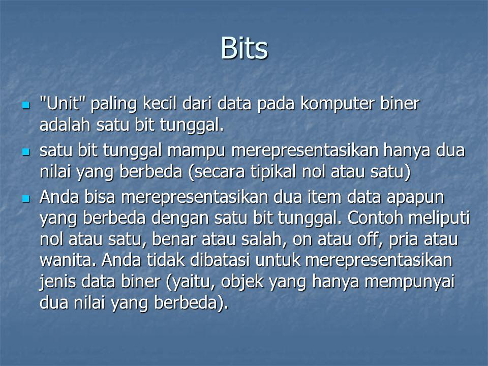 Bits Unit paling kecil dari data pada komputer biner adalah satu bit tunggal.