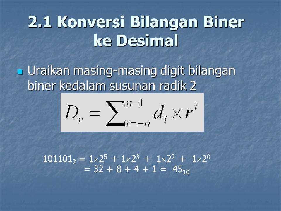 2.1 Konversi Bilangan Biner