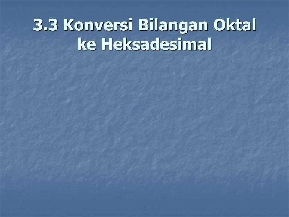3.3 Konversi Bilangan Oktal ke Heksadesimal