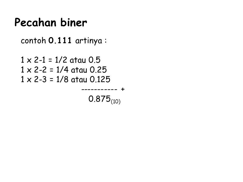 Pecahan biner contoh 0.111 artinya : 1 x 2-1 = 1/2 atau 0.5