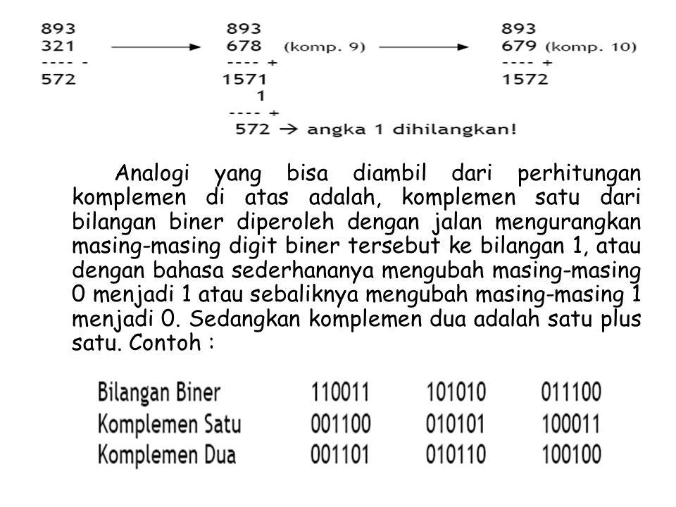 Analogi yang bisa diambil dari perhitungan komplemen di atas adalah, komplemen satu dari bilangan biner diperoleh dengan jalan mengurangkan masing-masing digit biner tersebut ke bilangan 1, atau dengan bahasa sederhananya mengubah masing-masing 0 menjadi 1 atau sebaliknya mengubah masing-masing 1 menjadi 0.