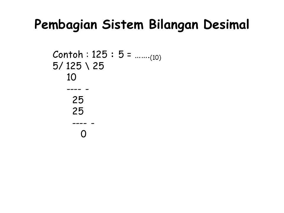 Pembagian Sistem Bilangan Desimal