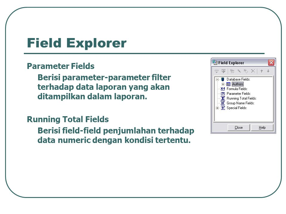 Field Explorer Parameter Fields