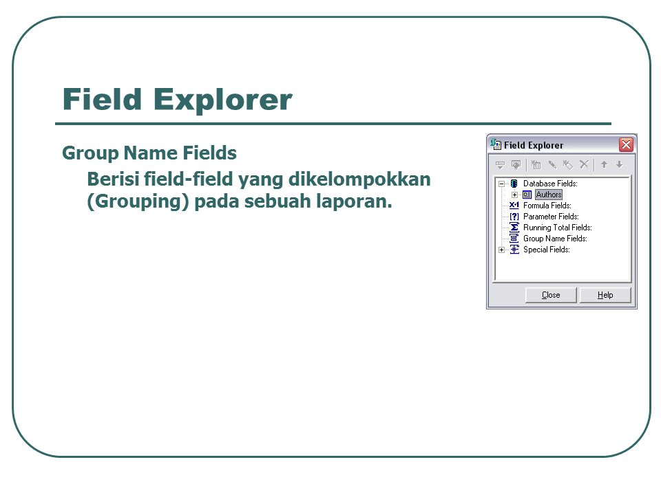 Field Explorer Group Name Fields
