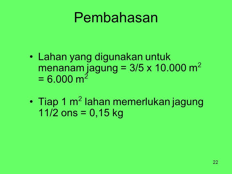 Pembahasan Lahan yang digunakan untuk menanam jagung = 3/5 x 10.000 m2 = 6.000 m2.