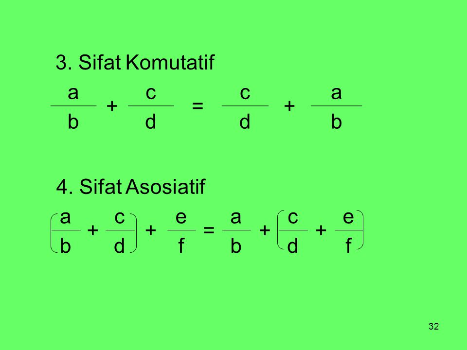 3. Sifat Komutatif a + c = b d f d b e + c a = 4. Sifat Asosiatif