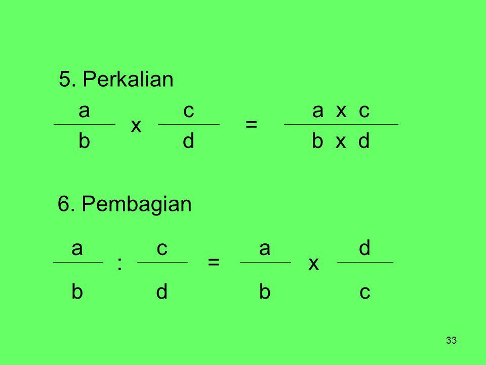 b x d d b a x c = c x a 5. Perkalian c b d x a = : 6. Pembagian