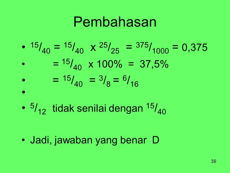 Pembahasan 15/40 = 15/40 x 25/25 = 375/1000 = 0,375. = 15/40 x 100% = 37,5% = 15/40 = 3/8 = 6/16.
