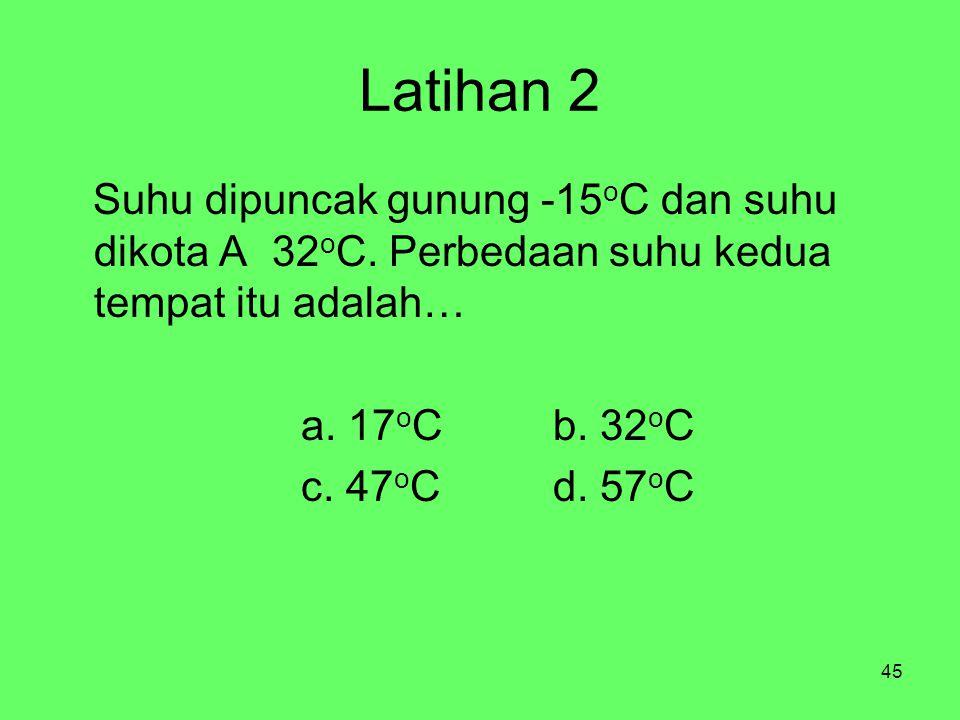 Latihan 2 Suhu dipuncak gunung -15oC dan suhu dikota A 32oC. Perbedaan suhu kedua tempat itu adalah…