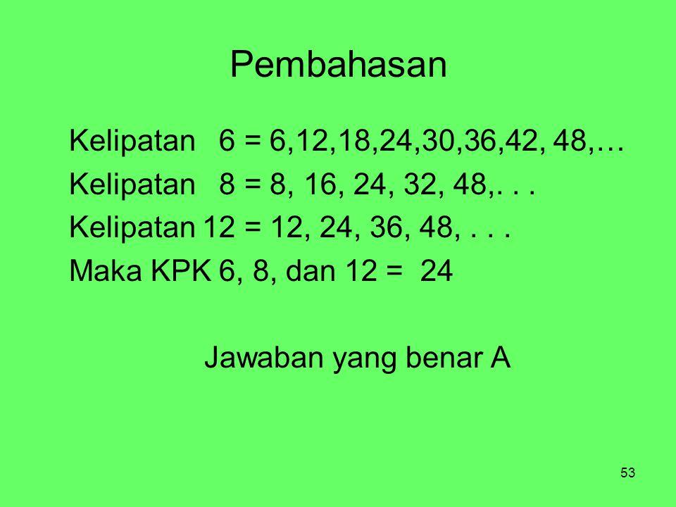 Pembahasan Kelipatan 6 = 6,12,18,24,30,36,42, 48,…