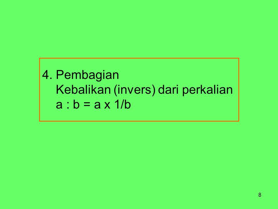 4. Pembagian Kebalikan (invers) dari perkalian a : b = a x 1/b
