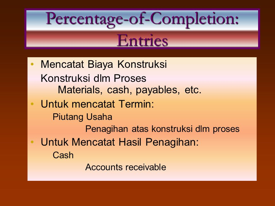 Percentage-of-Completion: Entries