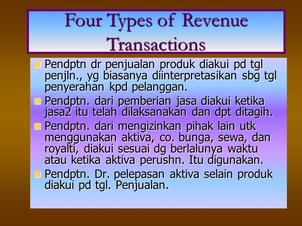 Four Types of Revenue Transactions