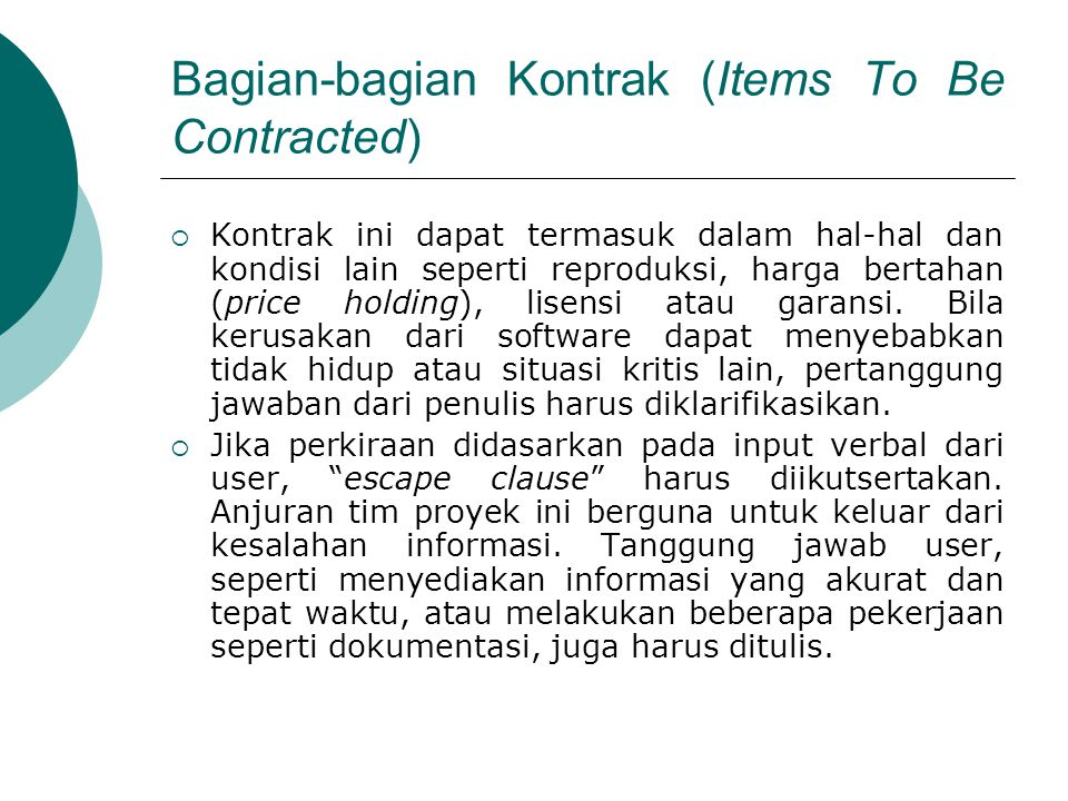 Bagian-bagian Kontrak (Items To Be Contracted)