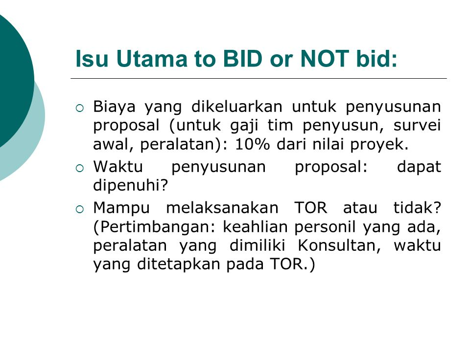Isu Utama to BID or NOT bid: