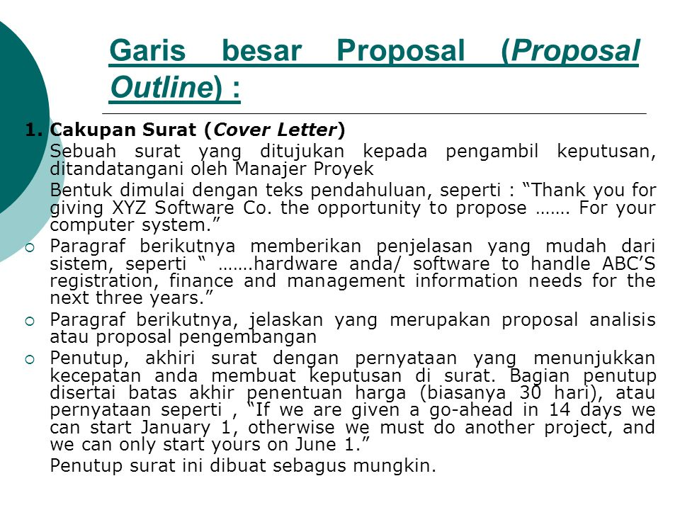 Garis besar Proposal (Proposal Outline) :
