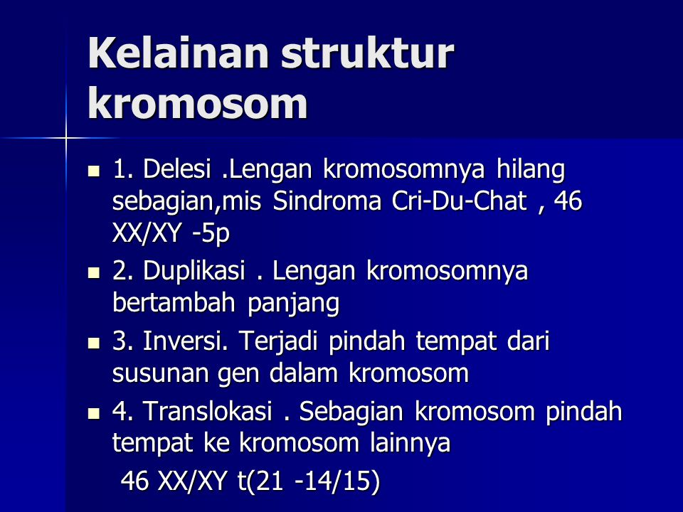 Kelainan struktur kromosom